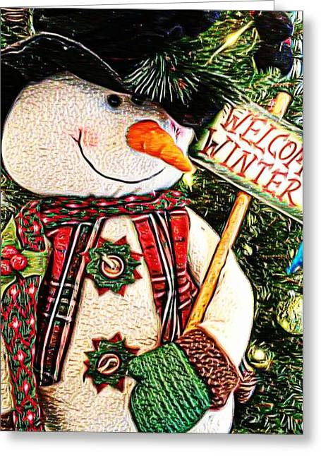 Welcome Winter Snowman Greeting Card