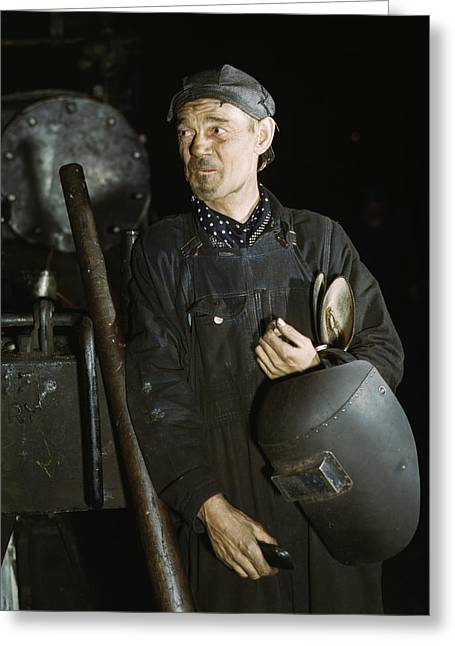 Welder At A Locomotive Shop In Chicago Greeting Card by Stocktrek Images