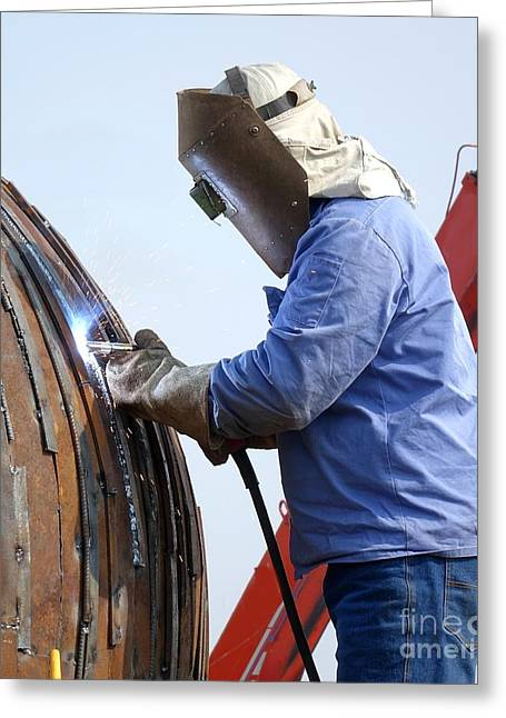 Welder At Work Using The Shielded Metal Arc Process Greeting Card by Yali Shi