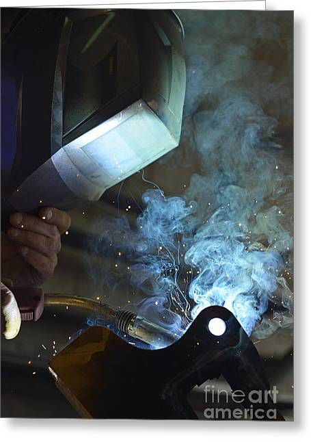Welder In Mask Working On Steel Greeting Card by Sami Sarkis