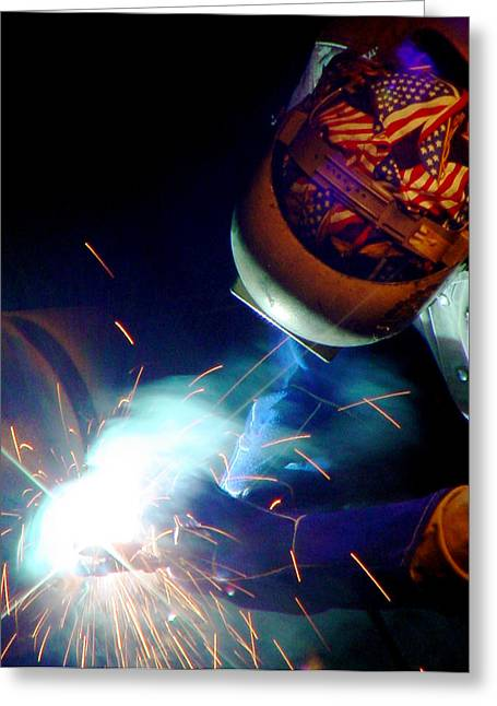Welder On Times Square In Nyc Greeting Card