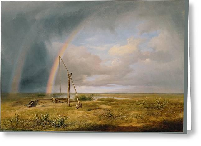 Well Against A Rainbow Greeting Card by Karoly I Marko