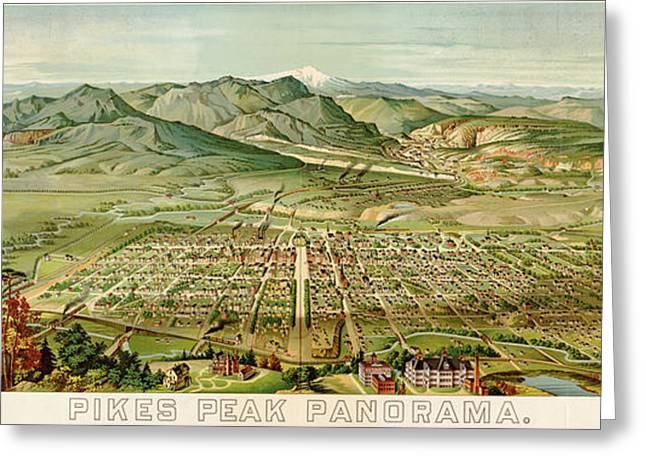 Wellge's Colorado Springs Birdseye Map - 1890 Greeting Card