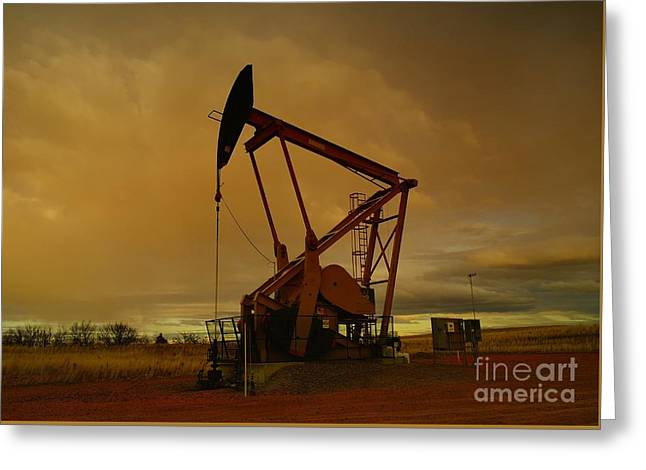 Wellhead At Dusk Greeting Card