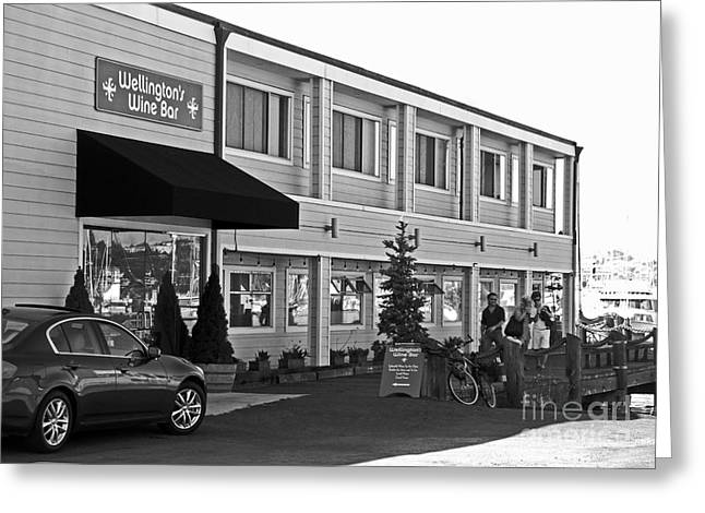 Wellingtons Wine Bar Bw Greeting Card by Connie Fox