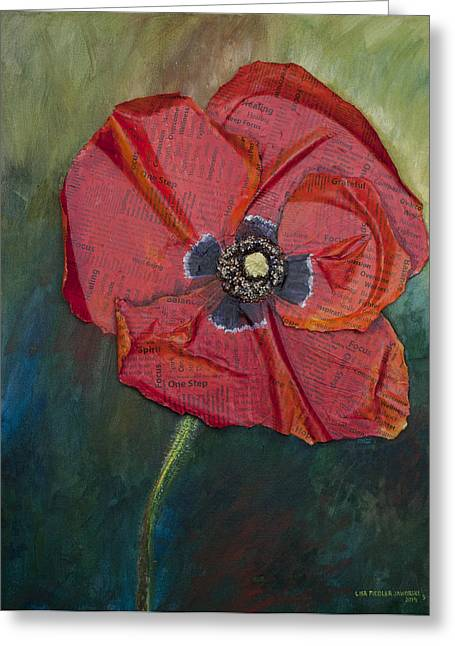 Greeting Card featuring the painting Wellness Poppy by Lisa Fiedler Jaworski