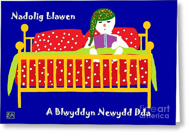 Greeting Card featuring the digital art Welsh Snowman Bedtime  by Barbara Moignard