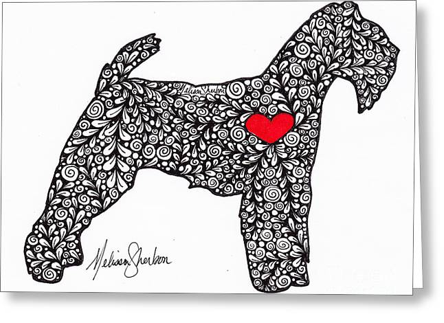 Greeting Card featuring the drawing Welsh Terrier by Melissa Sherbon