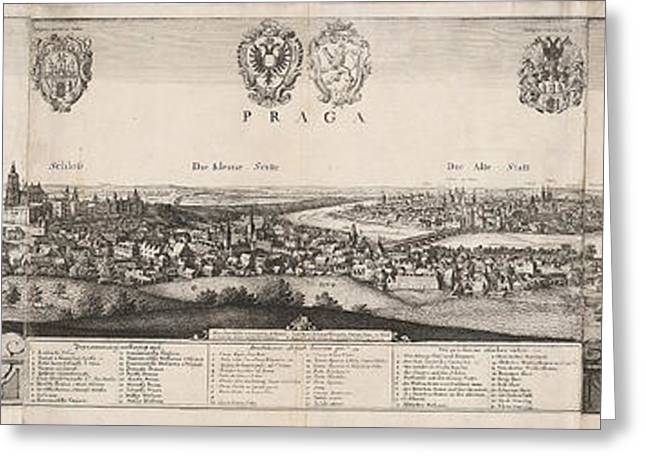 Wenceslaus Hollar, The Great View Of Prague Greeting Card