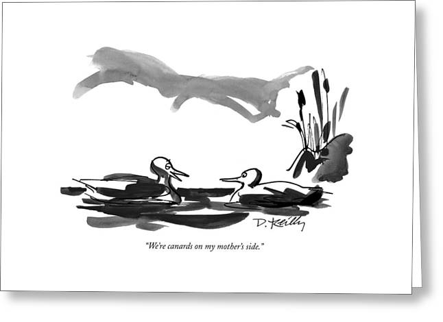 We're Canards On My Mother's Side Greeting Card by Donald Reilly