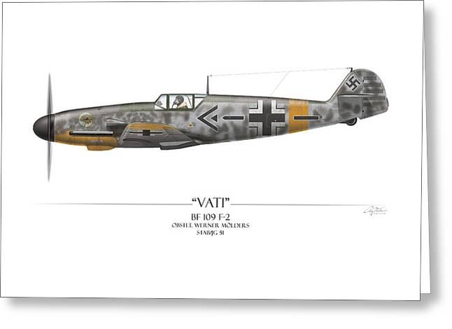 Werner Molders Messerschmitt Bf-109 - White Background Greeting Card by Craig Tinder