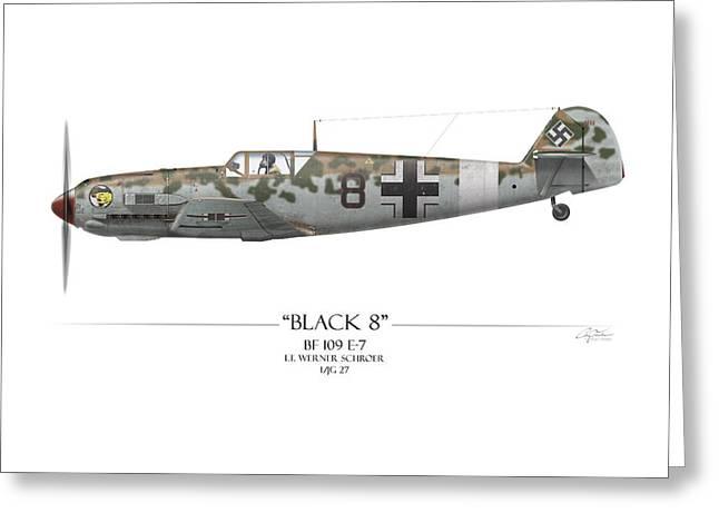 Werner Schroer Messerschmitt Bf-109 - White Background Greeting Card by Craig Tinder