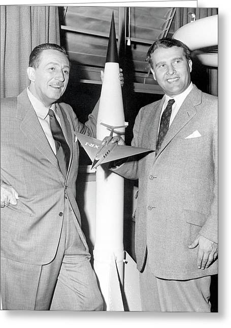 Wernher Von Braun And Walt Disney Greeting Card by Nasa/marshall Space Flight Center