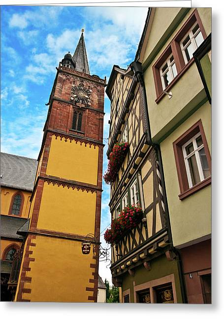 Wertheim, Franconia, Germany, A Clock Greeting Card by Miva Stock