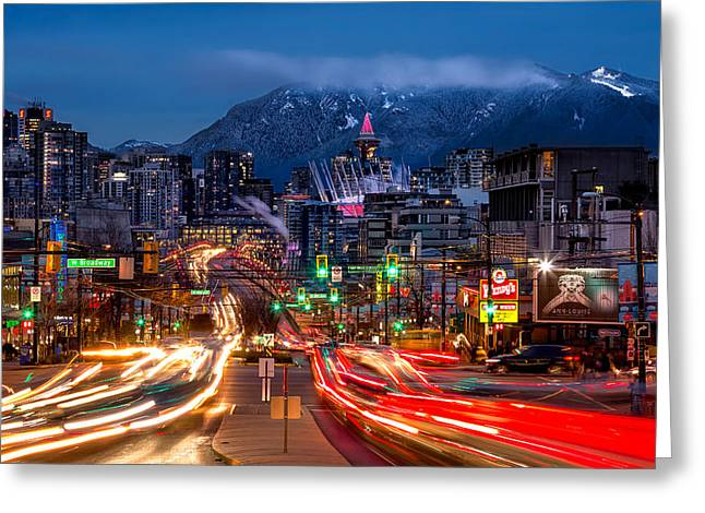 West Broadway And Cambie Greeting Card by Alexis Birkill