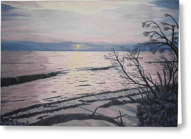 Greeting Card featuring the painting West Coast Sunset by Hilda and Jose Garrancho