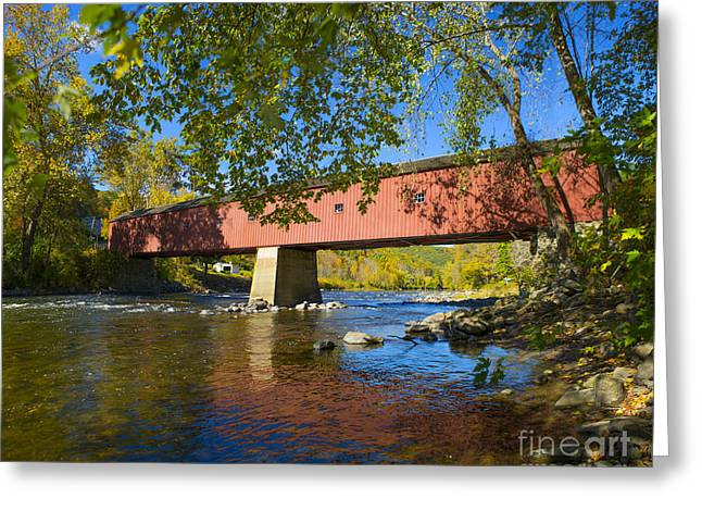 West Cornwall Covered Bridge Greeting Card by Diane Diederich