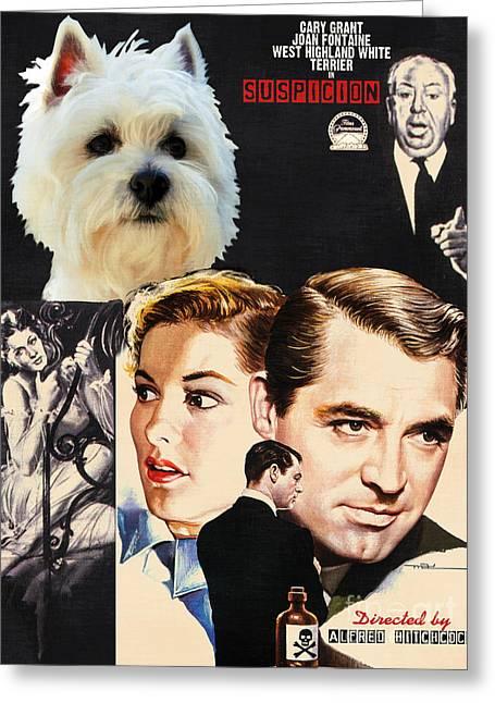 West Highland White Terrier Art Canvas Print - Suspicion Movie Poster Greeting Card by Sandra Sij