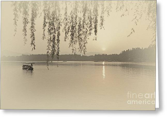 West Lake Sunset Greeting Card by Charline Xia