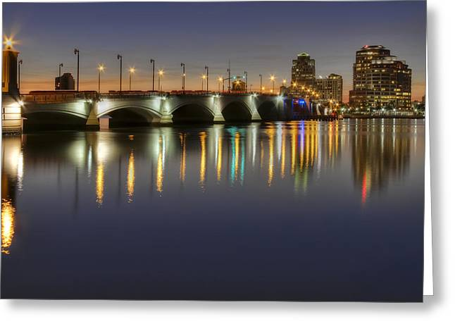 West Palm Beach At Night Greeting Card by Debra and Dave Vanderlaan