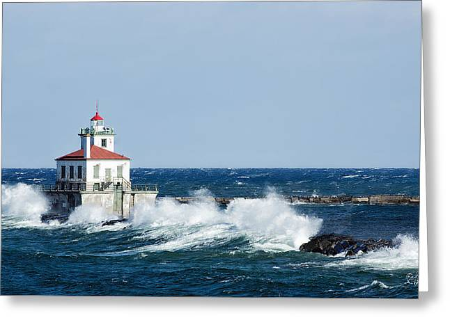 West Pierhead Lighthouse Greeting Card by Everet Regal