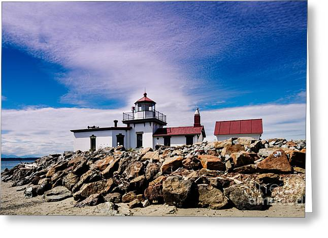 West Point Lighthouse - Discovery Park - Seattle Washington Greeting Card by Silvio Ligutti