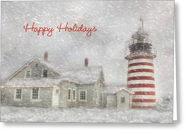 West Quoddy Christmas Greeting Card by Lori Deiter