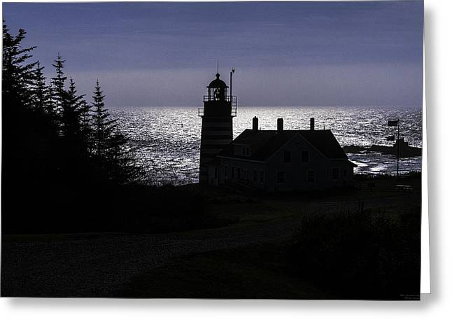 West Quoddy Head Light Station In Silhouette Greeting Card by Marty Saccone