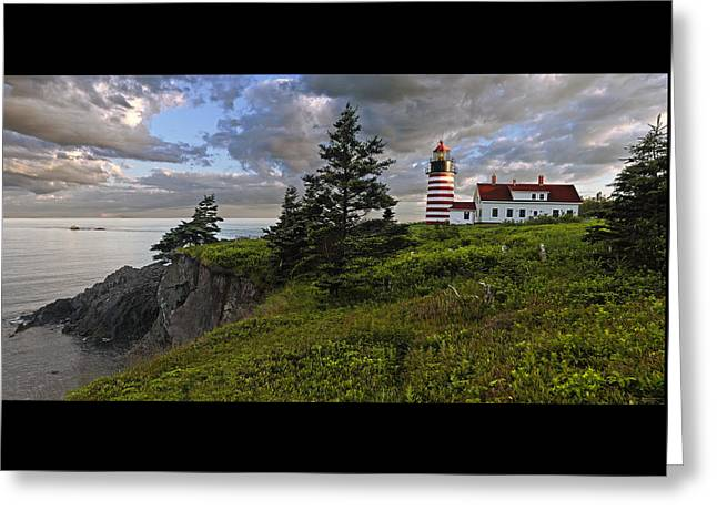 West Quoddy Head Lighthouse Panorama Greeting Card by Marty Saccone