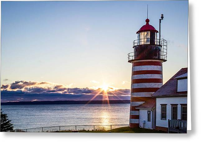 West Quoddy Head Lighthouse Sunrise  Greeting Card