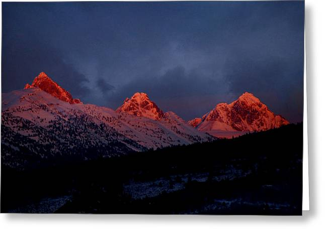 Greeting Card featuring the photograph West Side Teton Sunset by Raymond Salani III