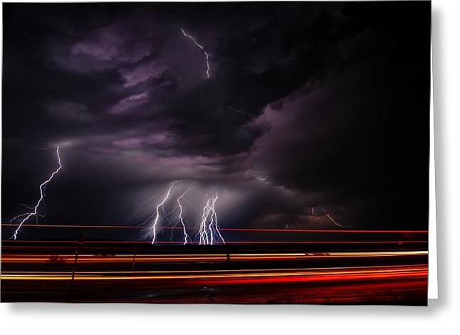 West Texas Lightning Storm Greeting Card