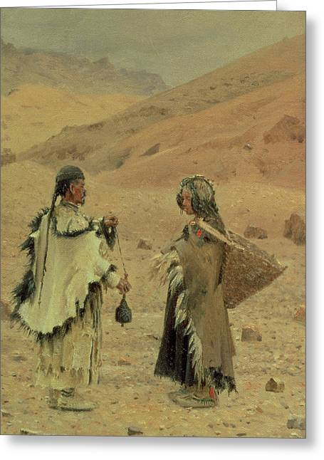 West Tibetans, 1875 Oil On Canvas Greeting Card by Piotr Petrovitch Weretshchagin