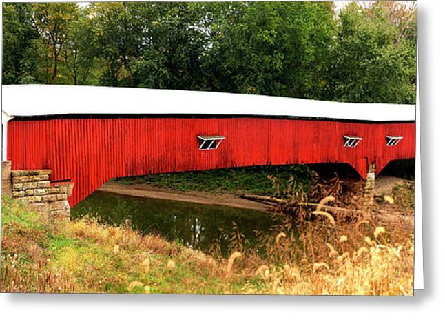 West Union Covered Bridge, Montezuma Greeting Card by Panoramic Images