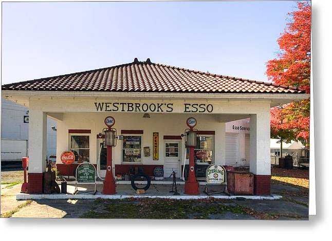 Westbrook's Filling Station Greeting Card by Gene Walls