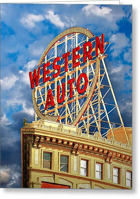 Western Auto Sign Downtown Kansas City Greeting Card