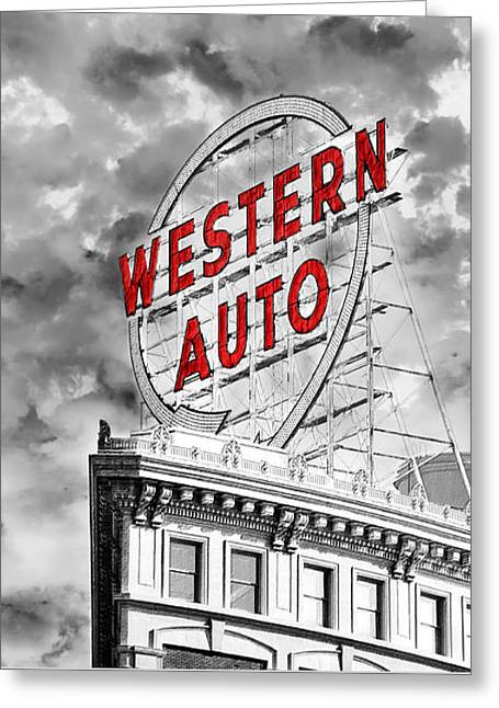 Western Auto Sign Downtown Kansas City B W Greeting Card