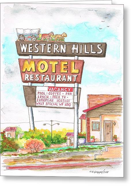 Western Hills Motel In Route 66 Flagstaff - Arizona Greeting Card