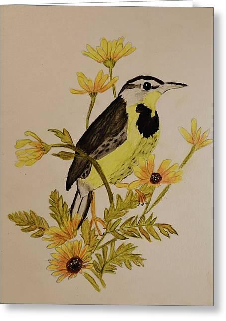 Western Meadowlark Greeting Card by Linda Brown