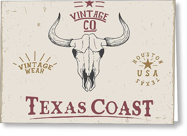 Western Old Label With Skull Of Bull Greeting Card