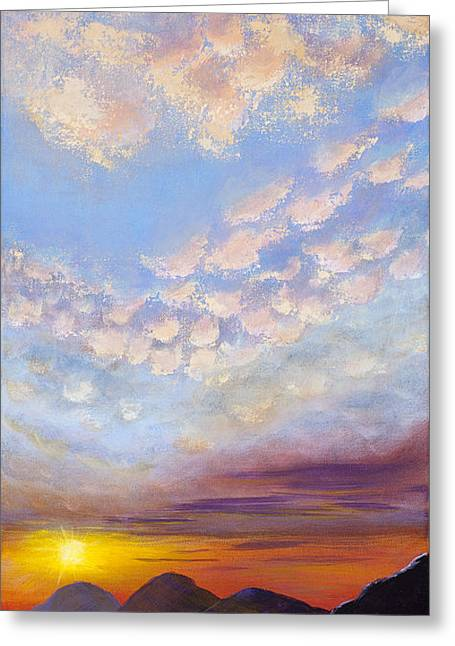 Greeting Card featuring the painting Western Sunset by Margaret Bobb