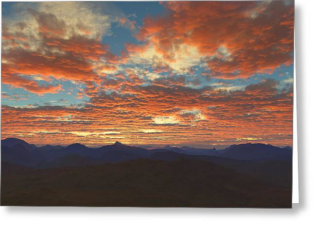 Greeting Card featuring the digital art Western Sunset by Mark Greenberg
