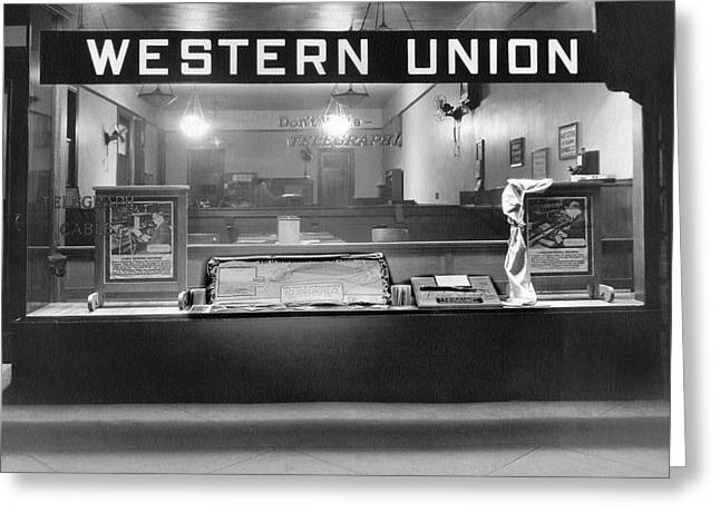 Western Union Telegraph Office Greeting Card by Underwood Archives