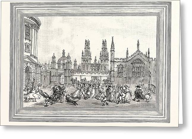 Western View Of All Souls College Oxford Oxford University Greeting Card by English School