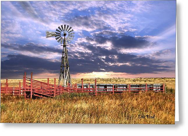 Western Windmill Greeting Card by Dale Paul