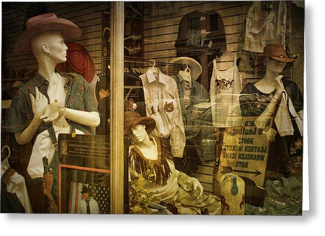 Western Window Display In Nashville Tennessee Greeting Card