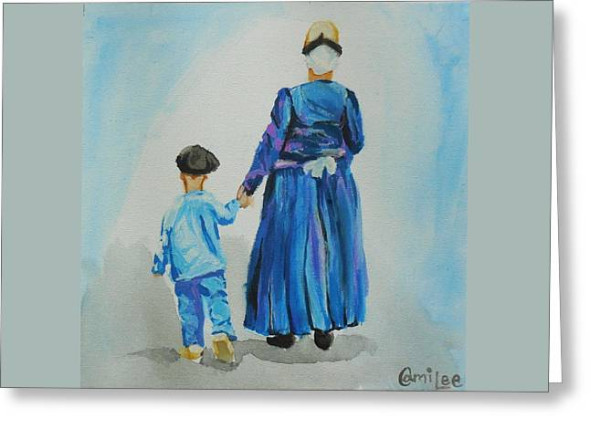 Westfriese Woman And Boy Greeting Card