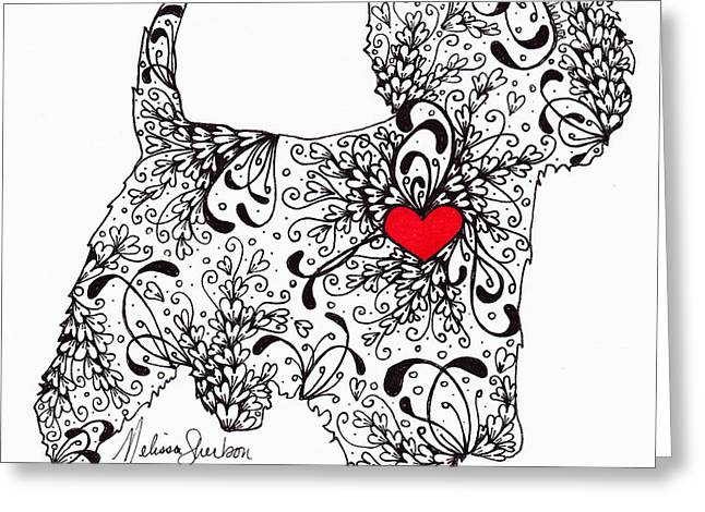 Greeting Card featuring the drawing Westie by Melissa Sherbon