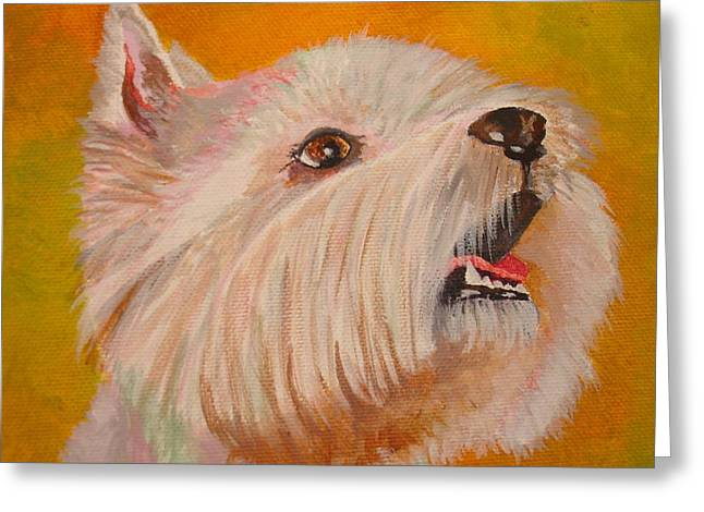 Westie Portrait Greeting Card by Tracey Harrington-Simpson