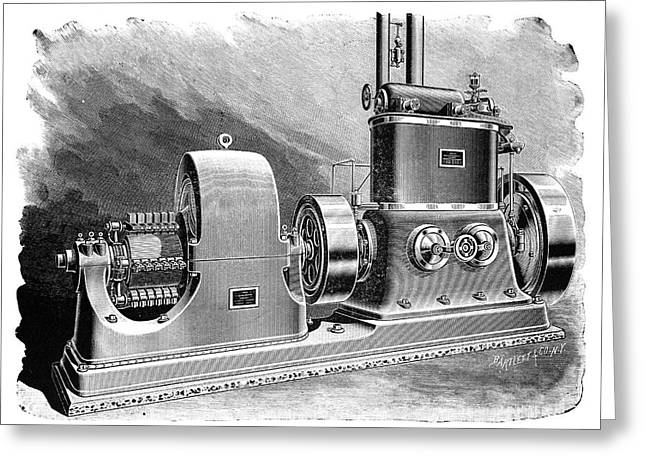 Westinghouse Electric Generator, 1897 Greeting Card by Science Photo Library